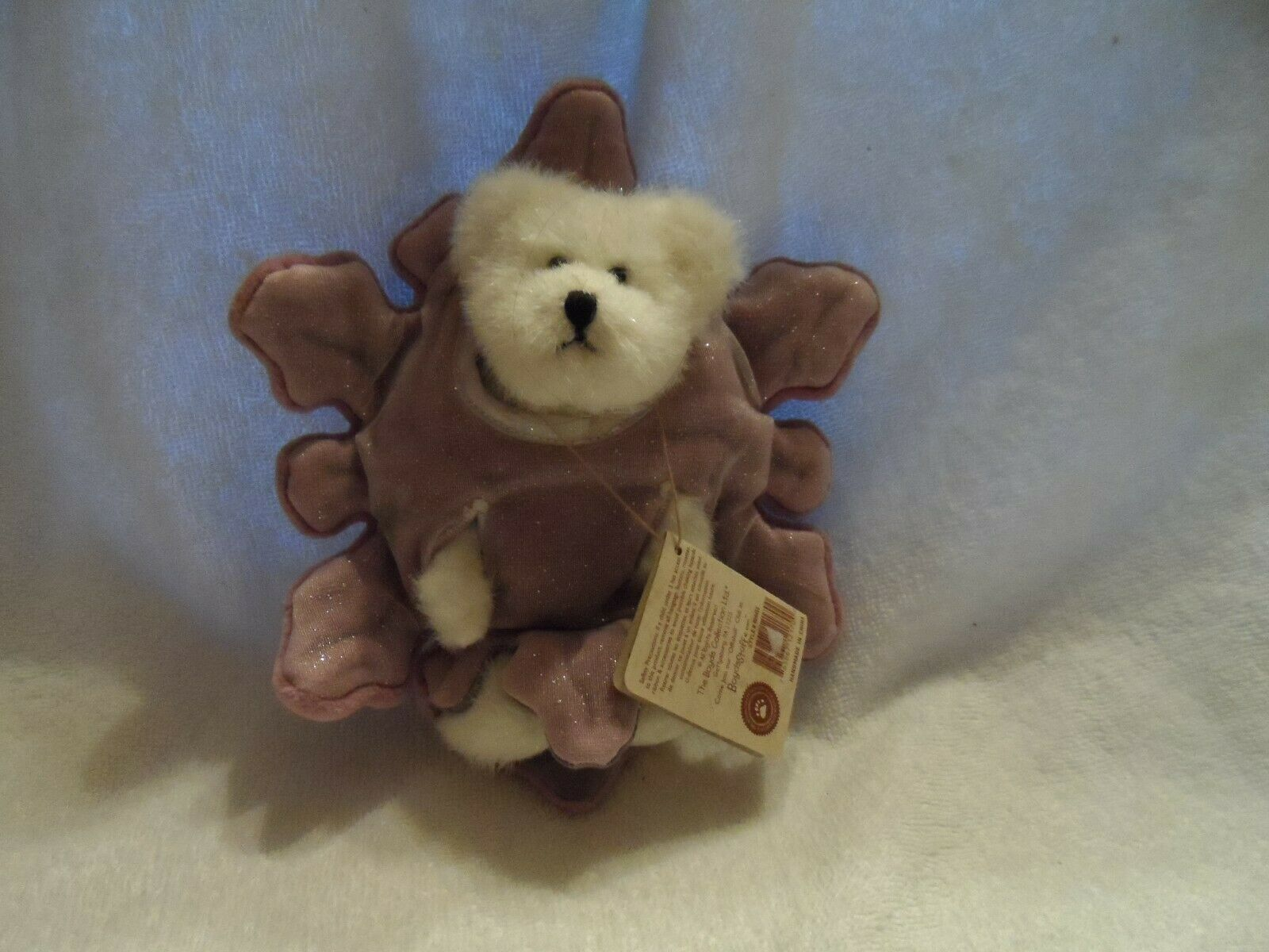 "Primary image for White Boyds bear wearing purple star  5.5""  Sparkle Crystalfrost style# 904455"