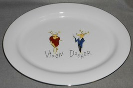 "Pottery Barn REINDEER PATTERN 17"" Turkey or Meat Platter VIXEN and DASHER - $128.69"