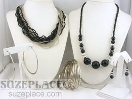 Multi Strand Seed Bead Necklace + Black & Silver Necklace 2 Pr Earring Bracelet - $9.95