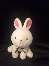 White Pink Bunny Brown bow Plush Stuffed Lovey Baby Toy CHILD OF MINE  - $29.69