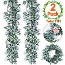 2 PCS Artificial Greenery Garland Total 12Ft Willow Leaf Garland Faux Silk Jungl image 1
