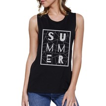 Summer Geometric Lettering Womens Black Crewneck Cotton Tank Top - $14.99