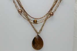 Vintage Goldtone AVON Multistrand Beaded Tiger's Eye Pendant Necklace V2 - $15.00