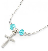 Girls Cross Pendant Made with Swarovski Light Blue Crystals 925 Sterling... - $86.45