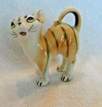 Vintage ceramic orange with black stripes cat figurine - £10.43 GBP