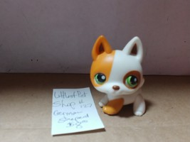 Littlest Pet Shop Dog German Shepherd #127 White Orange Green eyes - $8.00