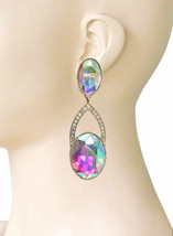 "3"" Long Clip On Earring Aurora Borealis Glass Crystal Drag Queen Pageant... - $18.95"