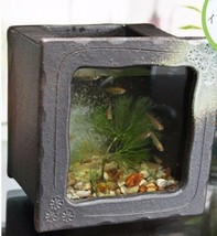 Aquarium fish tank KINGYO goldfish SHIGARAKI yaki and glass made in japan - $157.85