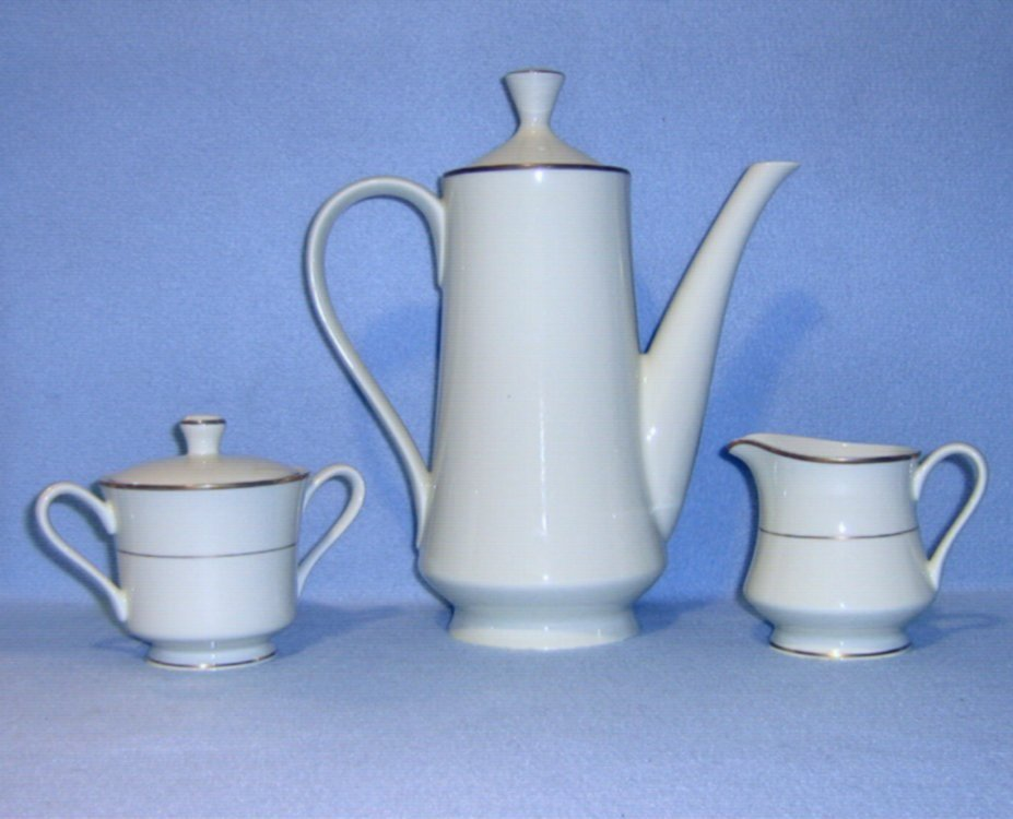 Sakura Elegance Ivory 3 pc Coffee Set Pot Creamer Sugar