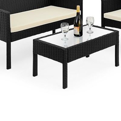 Black Rattan Garden Furniture Set Outdoor Sofa Two Armchairs Coffee Table 4pcs image 5