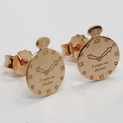 "925 STERLING ROSE SILVER ""LE FAVOLE"" WATCH EARRINGS, TALE, FLAT, MADE IN ITALY"