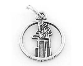 Sterling Silver Cut Out Golf Club And Bag CHARM/ Pendant - $8.59