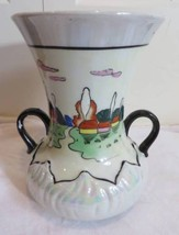 Vintage Handpainted 2 Handle Vase Made in Japan Good Pre-Owned Condition - $19.99