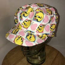 VTG 90s TWEETY BIRD Hearts 1997 Warner Bros Hat Cap Looney Tunes ALL OVE... - $46.95