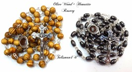 2 in Lot Olive Wood Beads ROSARY NECKLACE + Hematite Beads ROSARY With C... - $9.49