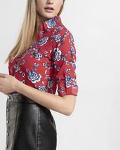 Express Slim Fit Portofino Shirt Red Floral Pocket - $30.00