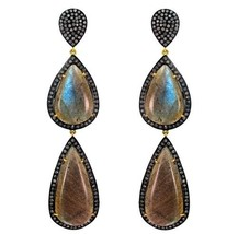 Labradorite Gemstone Dangle Earrings 14k Gold 3.47ct Diamond Pave Silver Jewelry - $1,281.85