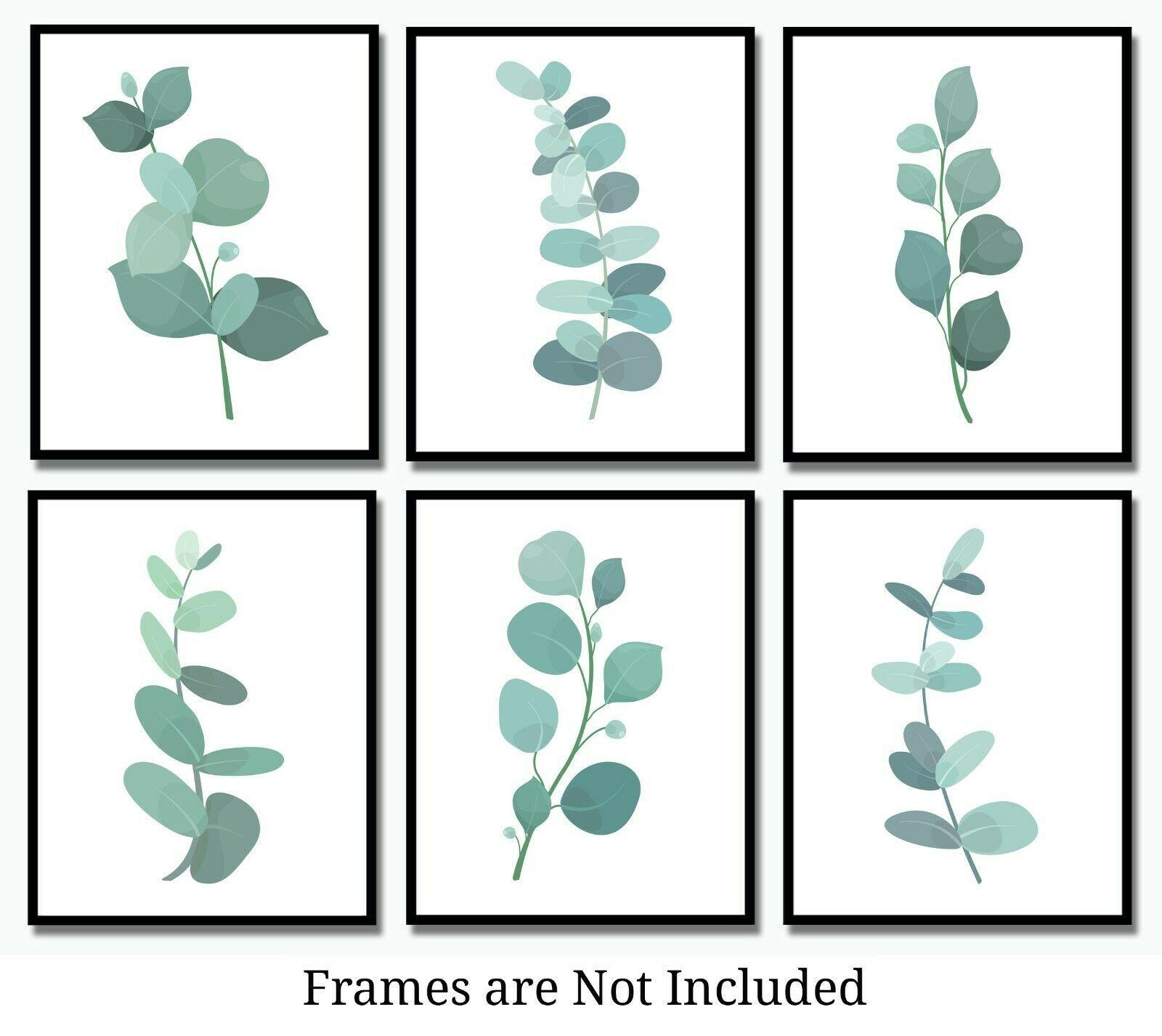 Botanical Prints Eucalyptus Leaves -Set of 6 (8x10)- Plant Leaf Watercolor Style - $17.95