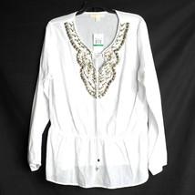 NEW $130 Michael Kors Tunic Women's Size Large White Studded Swim Cover Up Sheer - $29.99