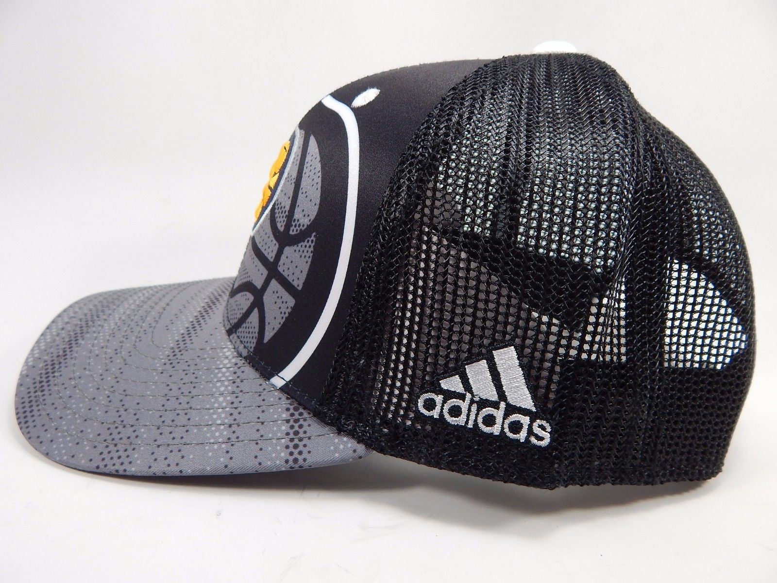 Indiana Pacers Adidas Official NBA Snap Back Curve Brim Black Gray Cap Hat NEW!