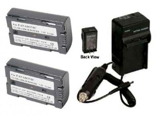 2 Batteries + Charger for Panasonic AG-HPX170 AG-HPX170P AG-HVX200 AG-HVX200A - $40.40