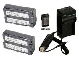 2 Batteries + Charger for Panasonic AG-HPX170 AG-HPX170P AG-HVX200 AG-HV... - $40.40