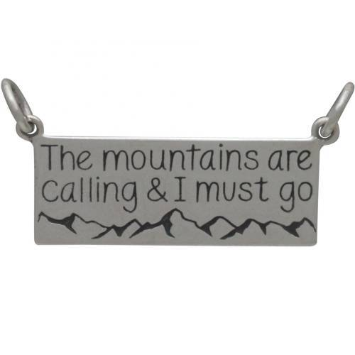 Charm, 'The Mountains Are Calling', Sterling Silver, 13.5x27.5mm, 1Pc (12706)/1