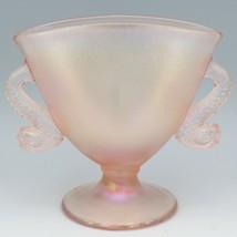 Fenton Art Glass 75th Anniversary Velva Rose Dolphin Handle Fan Vase 1980s. image 1