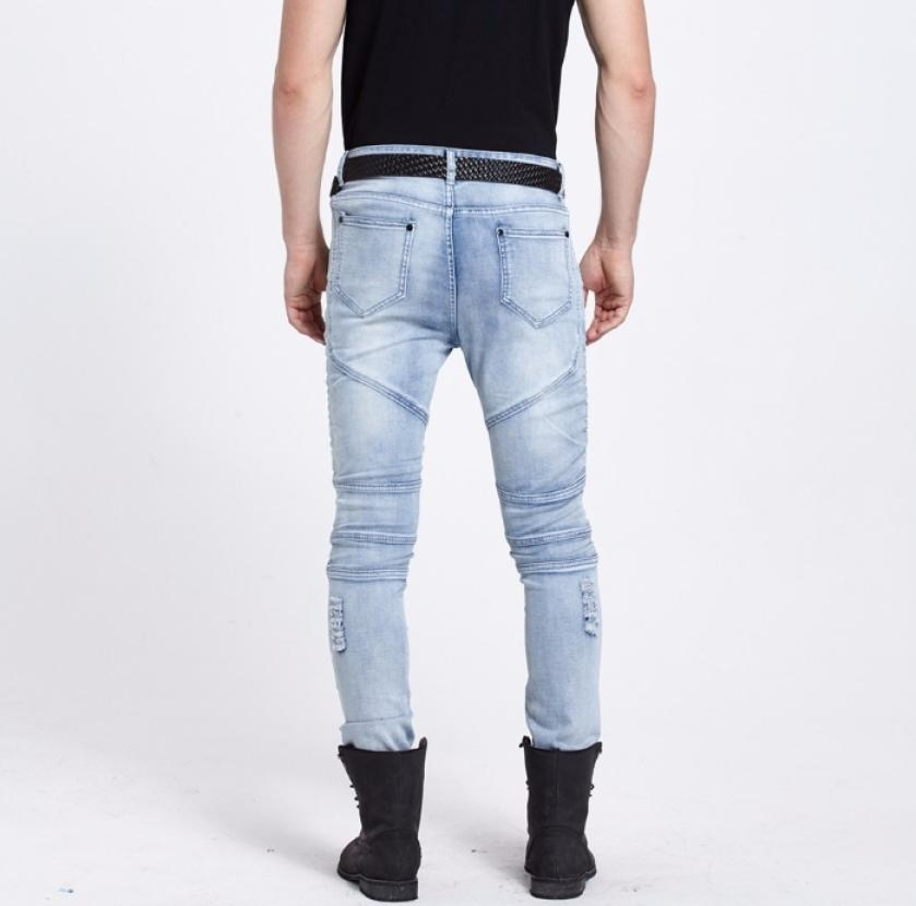 New Men hip hop Men Jeans masculina Casual Denim distressed Men's Slim Jeans pan image 10