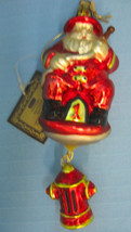 Santa Fireman Fire Fighter Hand Blown Glass Christmas Ornament - $17.25