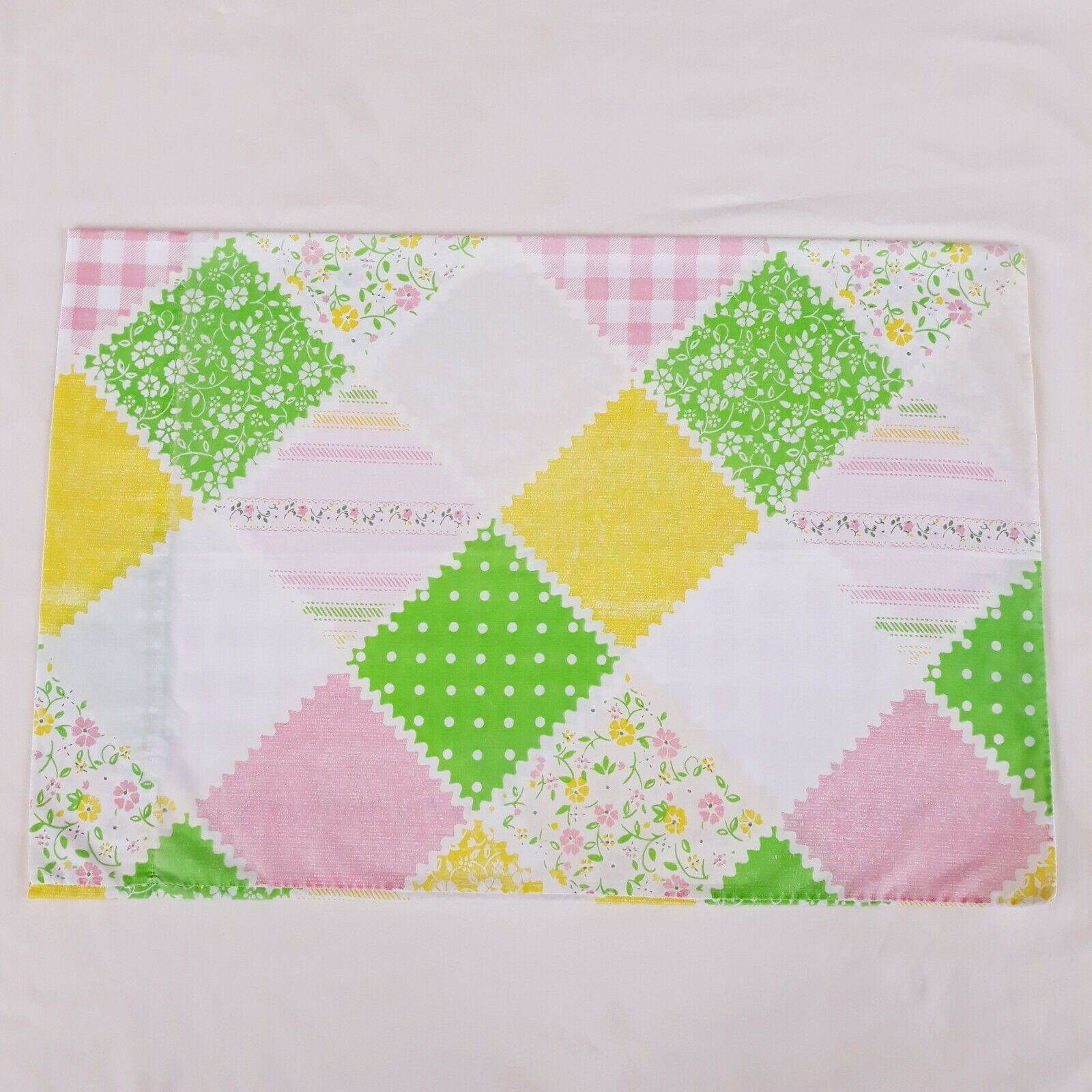 Primary image for Vintage Sears Country Patch Standard Pillowcase Pastel Pink Green Yellow