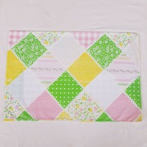 Vintage Sears Country Patch Standard Pillowcase Pastel Pink Green Yellow - $7.99