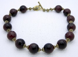 VTG Styled Heavy Gold Tone Faceted Burgundy Glass Beaded Choker Necklace - $74.25