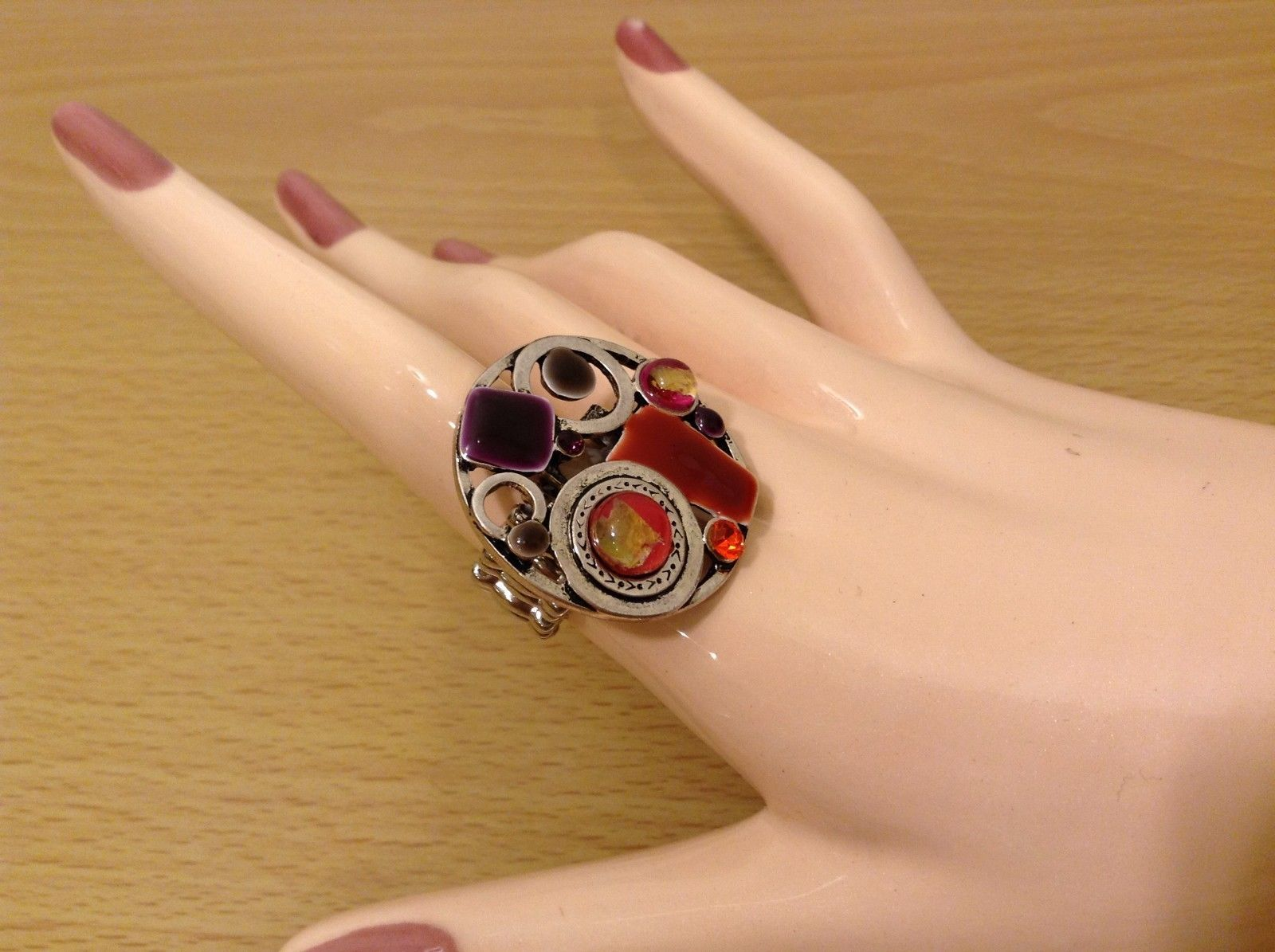 Abstract Retro Round Elastic Stretch Ring MAD Style New Crystals and Enamel