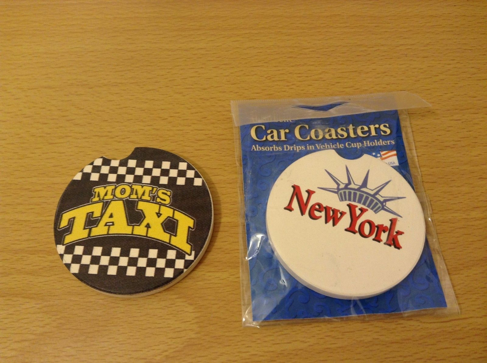 Counter Art Absorbent Stoneware Car Coasters Set of 2 New York and Mom's Taxi