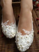 Women's Bright designer Wedding Shoes,White kawaii bridal shoes flats uk 6,4,5 - $39.99