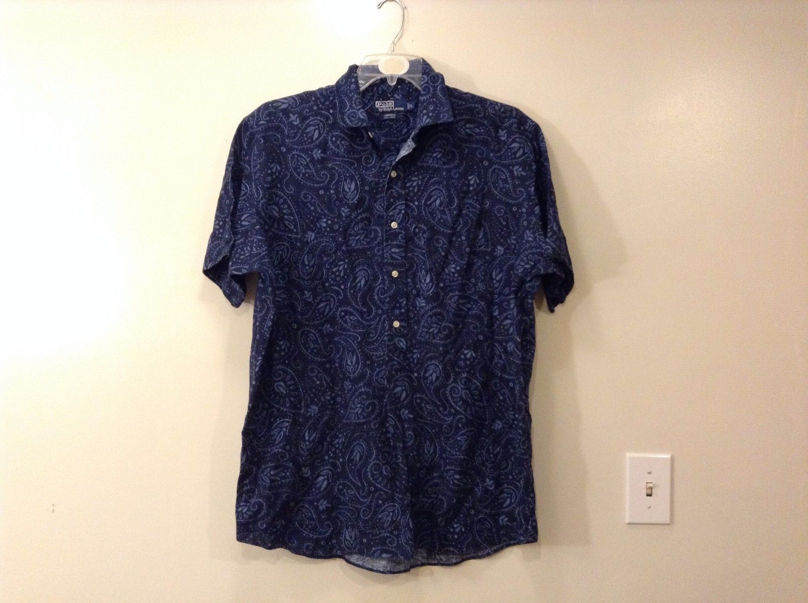 Mens Polo by Ralph Lauren Navy Blue Light Blue Floral Design Cambridge Shirt L