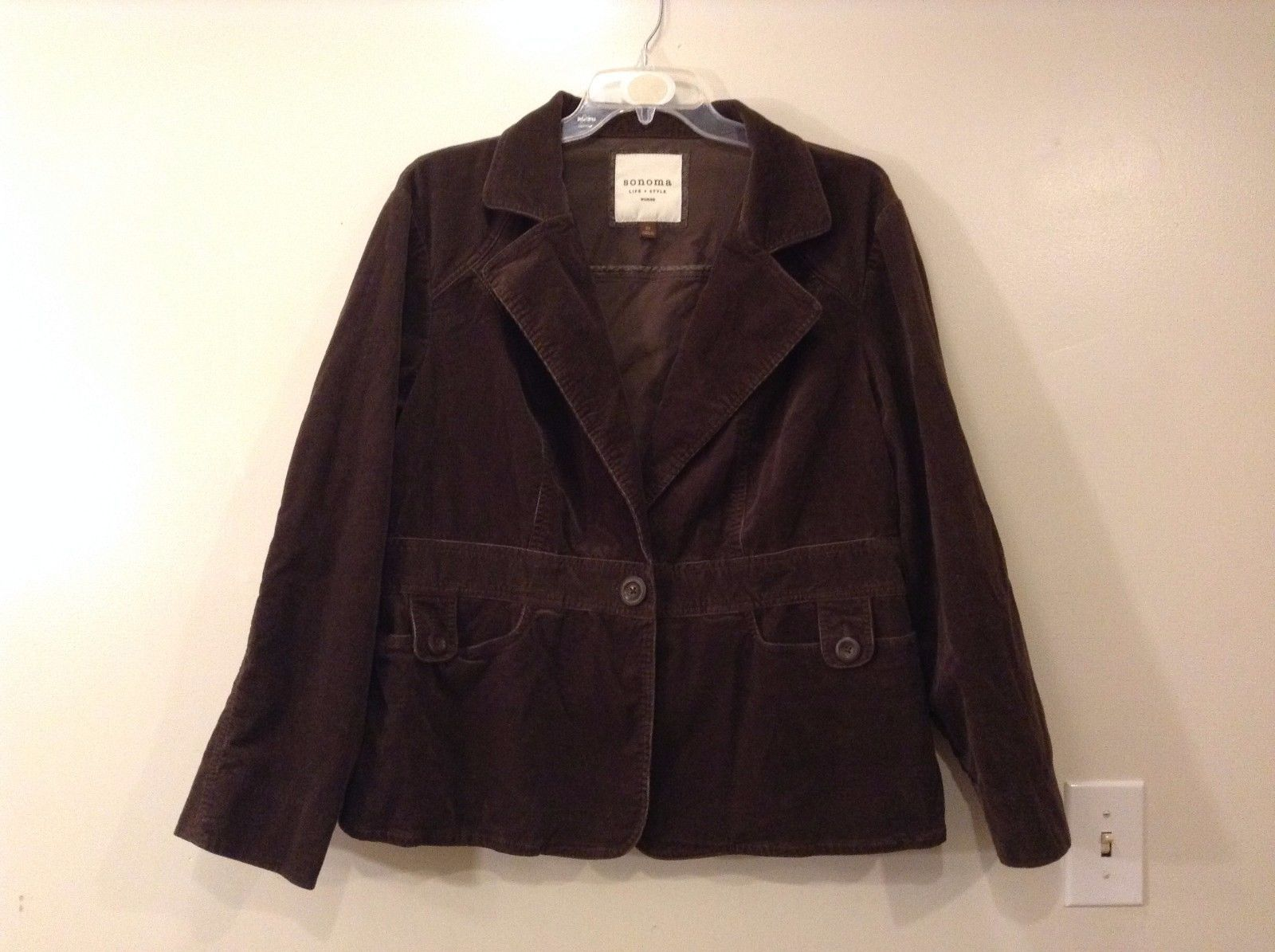 Sonoma Dark Brown Corduroy Jacket One Button Closure Size 2x Pleated Back
