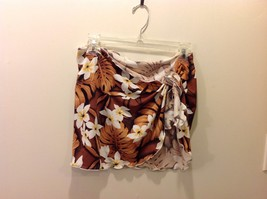 Great Cond. Floral Tropical Pareo White Flowers Orange Brown Leaves Beac... - $39.59