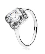 925 Sterling Silver Floral Fancy Ring & Clear Zirconia For Women  - $21.99