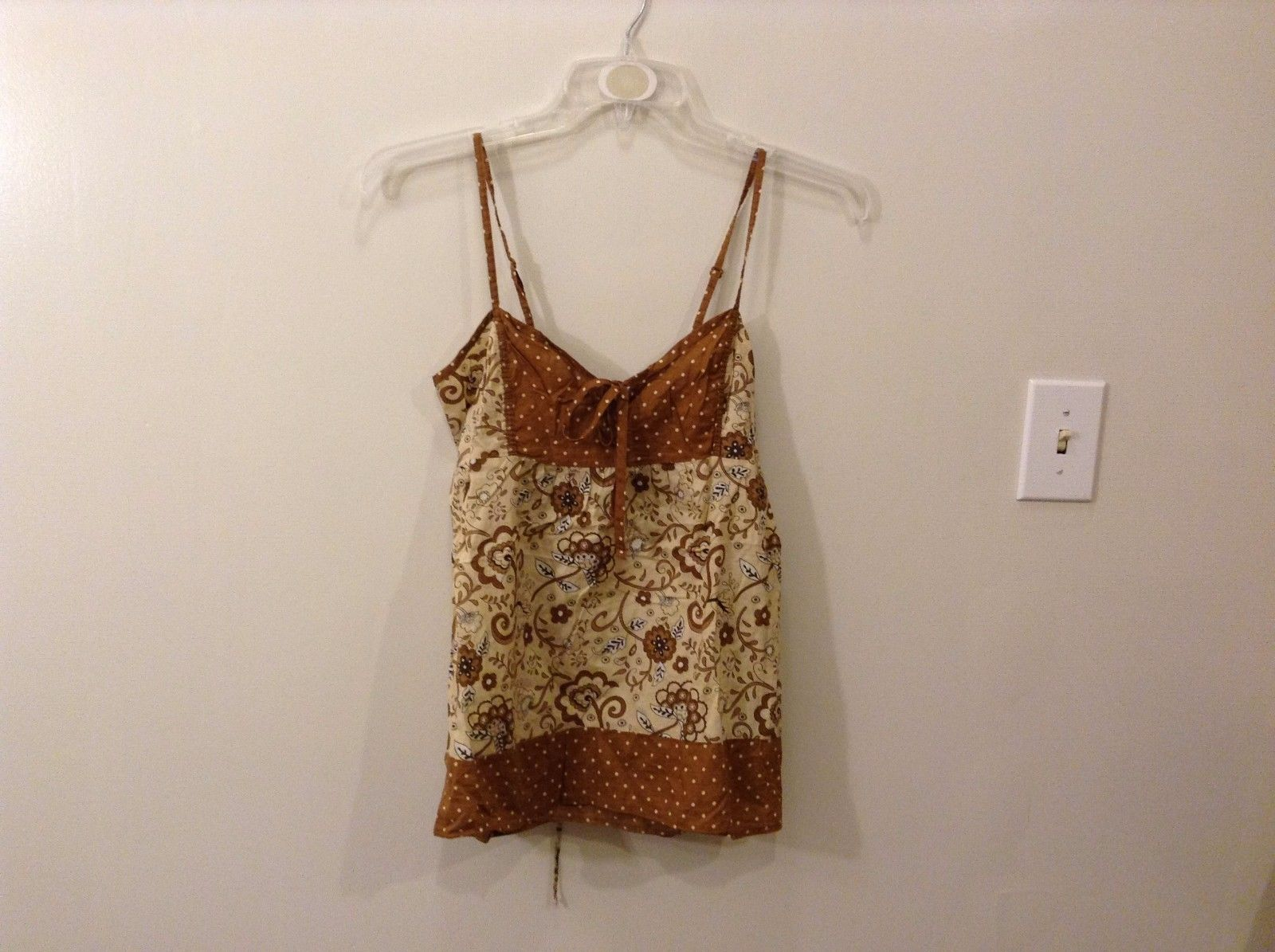Bugle Boy Medium Floral Earthy Camisole With Ribbons & Polka Dots Taupe Brown