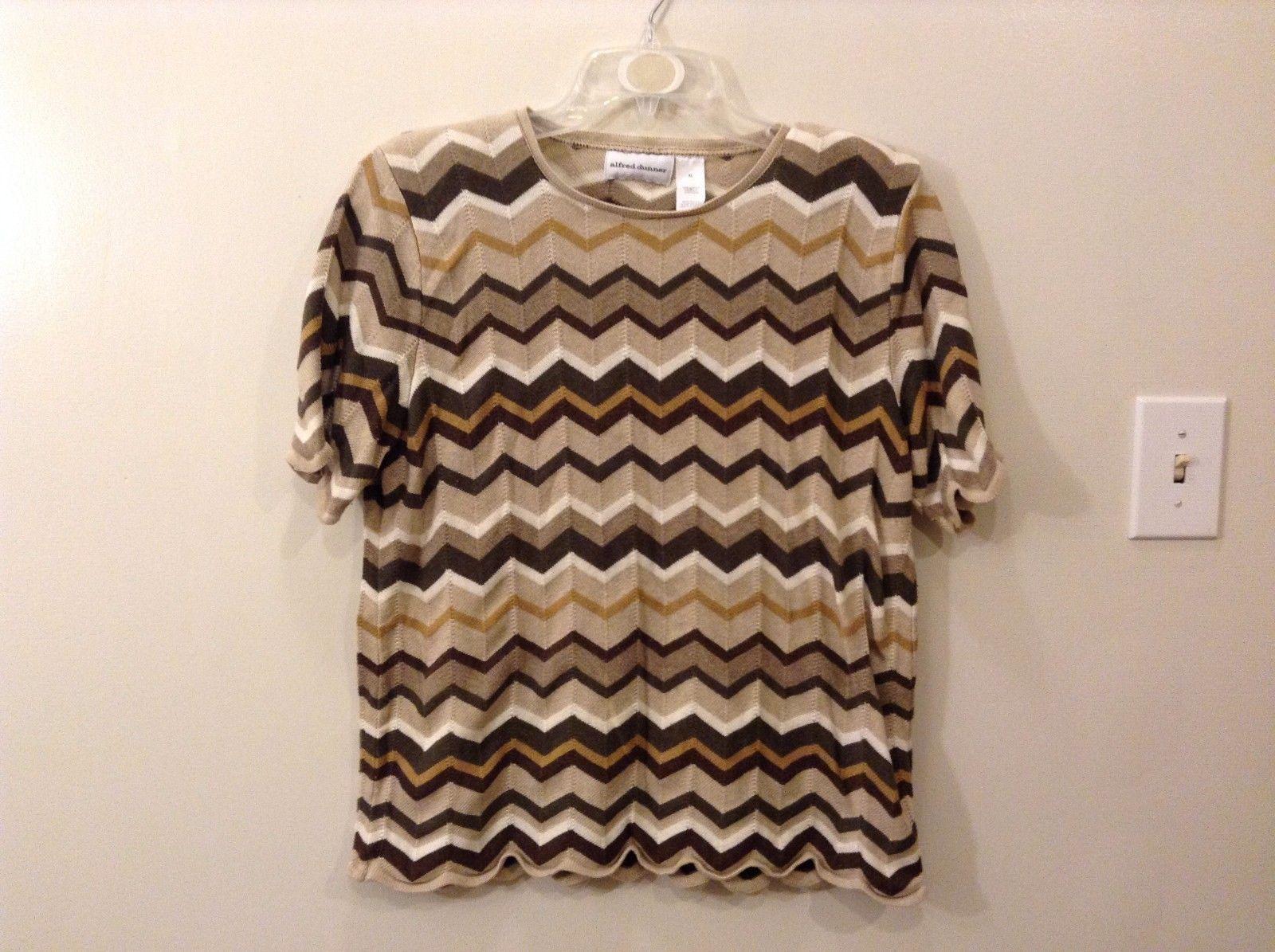 Alfred Dunner XL Neutral Toned Short Sleeve Sweatshirt Chevron Pattern Browns