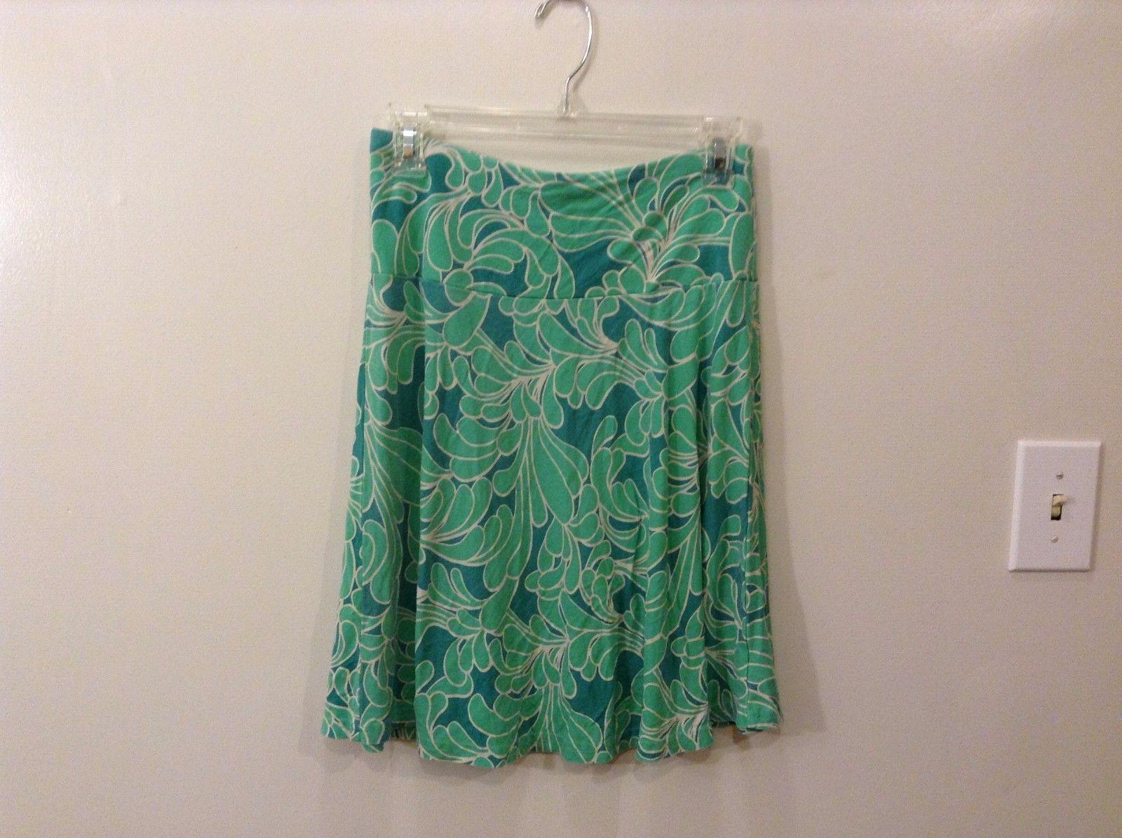 H&M Size 4 Up to Knee Elastic Waist Skirt Aquamarine Turquoise Colorful Design