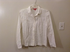 Anne Klein M White Collared Button Up Geometric Embroidery Front Cuffs Thin