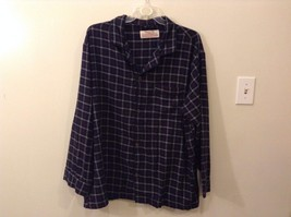 Merona XXL Plaid Flannel PJ Button Up Navy Blue Red White Lines Shirt Blouse
