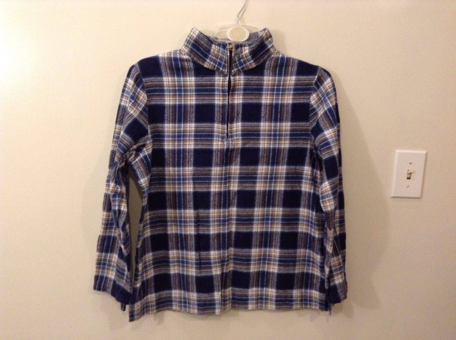 Denim & Co. 100% Cotton XL Plaid Pullover Jacket Zip Up Neck Navy Blue White