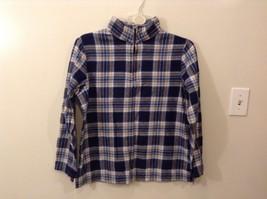 Denim & Co. 100% Cotton XL Plaid Pullover Jacket Zip Up Neck Navy Blue White