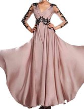 Fanmu V Neck Sheer Long Sleeves A Line Evening Prom Dresses Pink US 24plus - $95.99