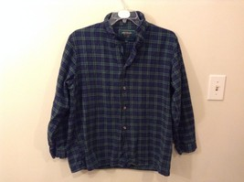 Lee Valley L Plaid Flannel PJ Button Up Navy Blue Green Great Condition