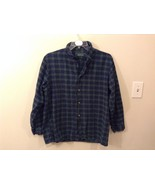 Lee Valley L Plaid Flannel PJ Button Up Navy Blue Green Great Condition - $29.69
